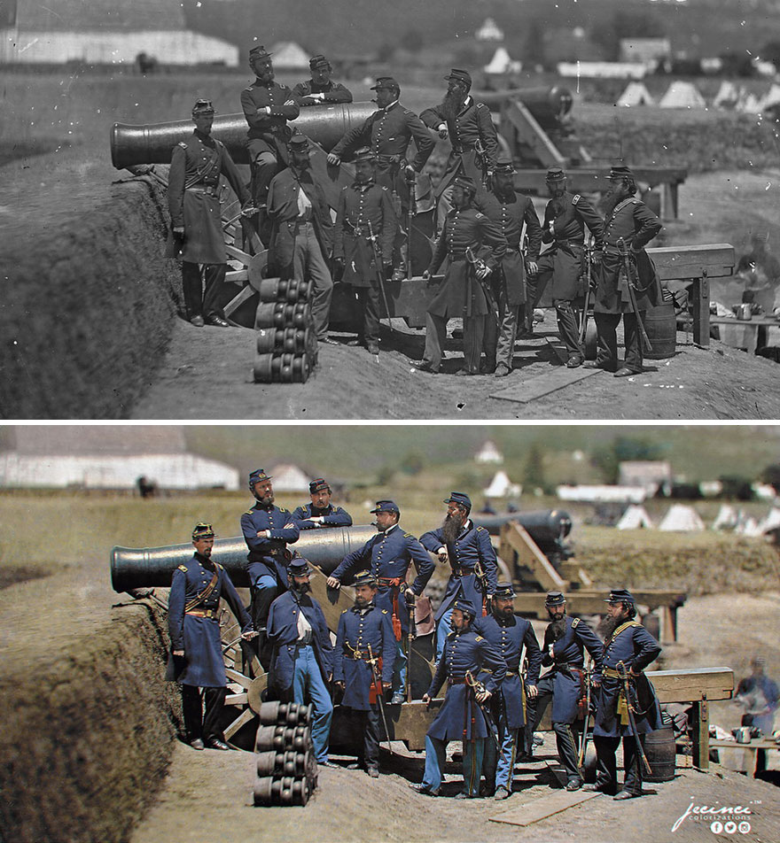 US Civil War - Officers Of The 69th New York Volunteer Regiment Pose With A Cannon At Fort Corcoran - Col. Michael Corcoran At Far Left, 1861
