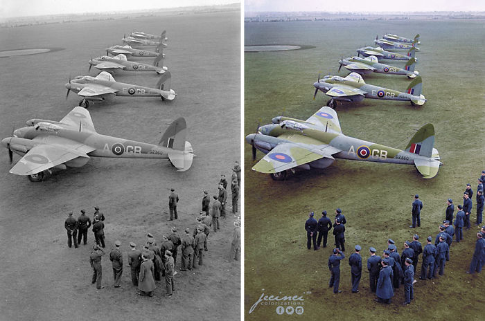 WW2 Alignment Of De Havilland DH98 Mosquito Mk.IV Of 105 Sqn RAF RAF On The Ground Marhamn, 11 December 1942
