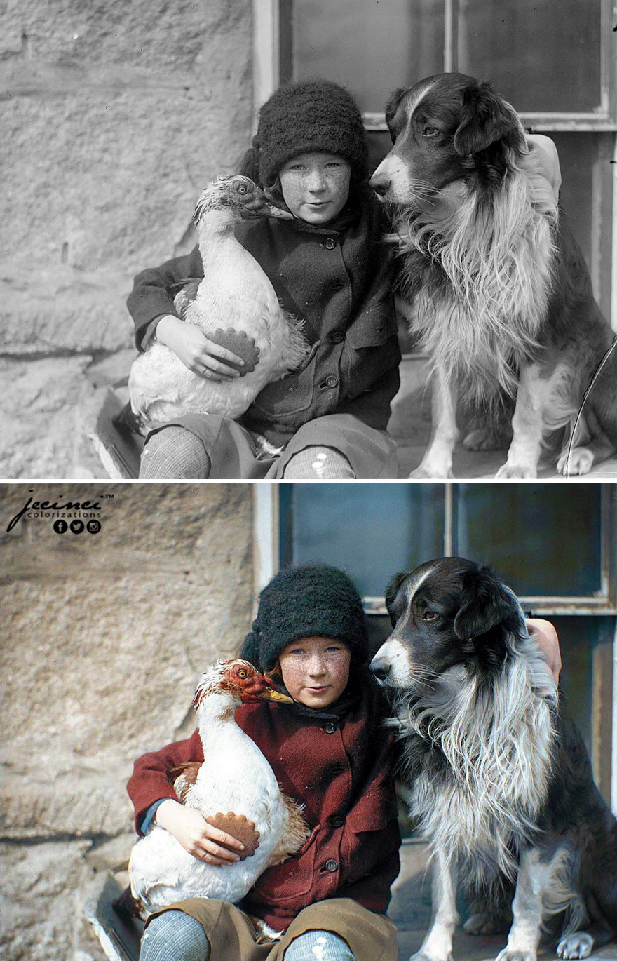 Girl With A Bird And A Dog, Boston, Massachusetts, US, 1920s