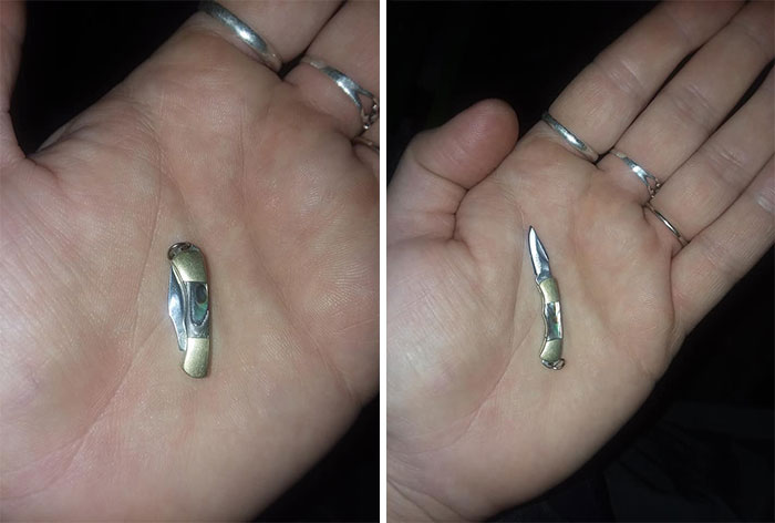 Teeny Tiny Fully Functional Knife With Mother Of Pearl Handle