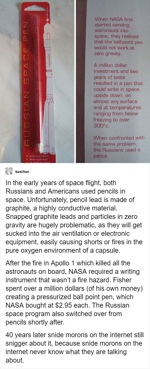 User Explains Why We Don't Use Pencils In Space