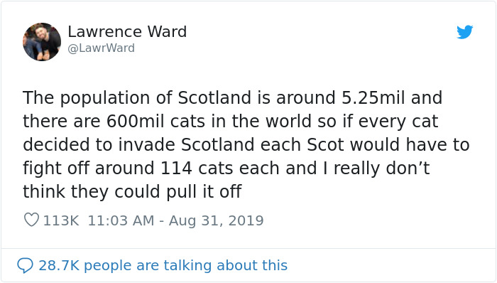 This Thread Detailing How Cats Could Take Over Scotland Is