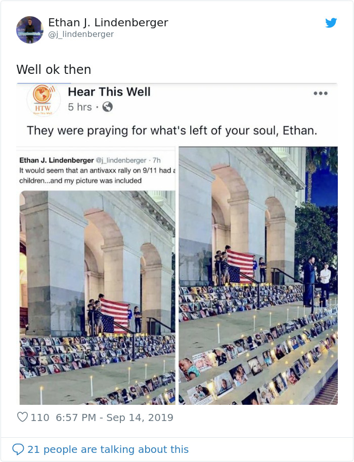 Man Sees Picture Of Himself At Anti-Vaxx Vigil For The 'Dead', Makes Fun Of It On Twitter