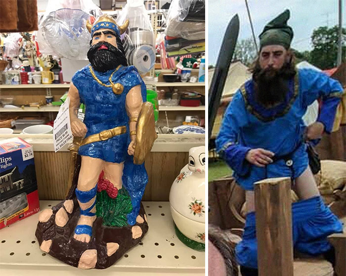 I Found This Lovingly Hand Painted Trouserless Bearded Viking In Blue Tunic That Uncannily Resembles My Husband That Time He Stood Up At A Festival And His Breeches Didn't Follow. Yes, I Bought It