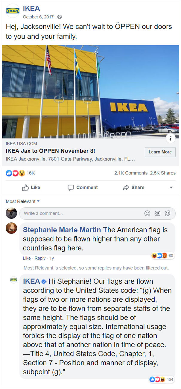 IKEA Correcting A Concerned American Citizen On How To Properly Display The US Flag