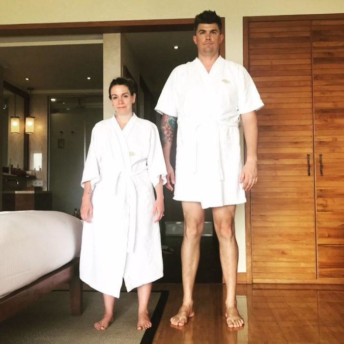 "My Wife Is 5'1"" And I Am 6'7"", When It Comes To Hotel Robes, One Size Does Not Fit All"