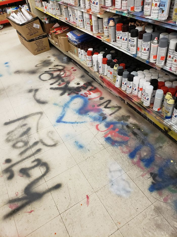 People Testing Spray Paint At Ollies