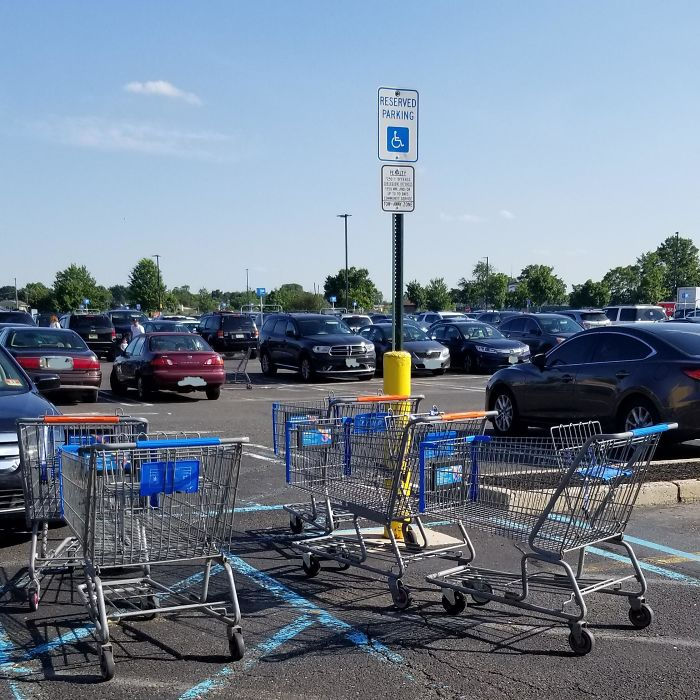 Walmart Shoppers Using Handicapped Spaces As A Cart Drop-Off