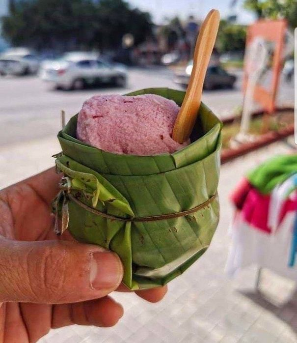 An Ice Cream Cup Made Of Banana Leaves