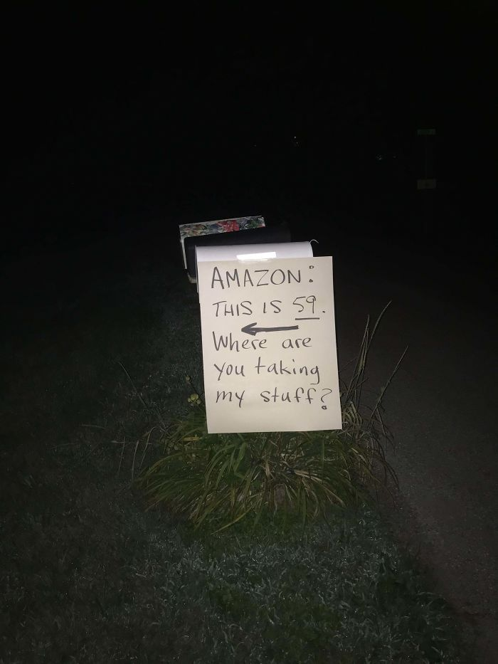 After Amazon Has Delivered 3 Of My Dad's Packages To Neighbors Who Refuse To Give Them Back, He Has Left The Delivery Man A Little Help