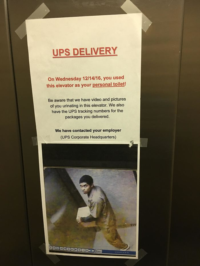 UPS Delivery Driver Caught Peeing In Elevator En Route To Deliveries In My Old Building