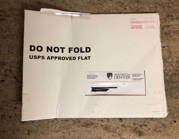 USPS Bent My Diploma. I Have No Words