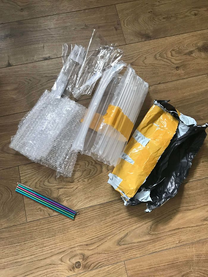 I Decided To Try Use Less Plastic So I Ordered 4 Re-Usable Straws, This Is The Amount Of Packaging They Came In