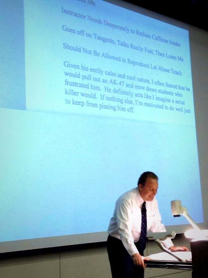 Professor Reads His Reviews During The Course