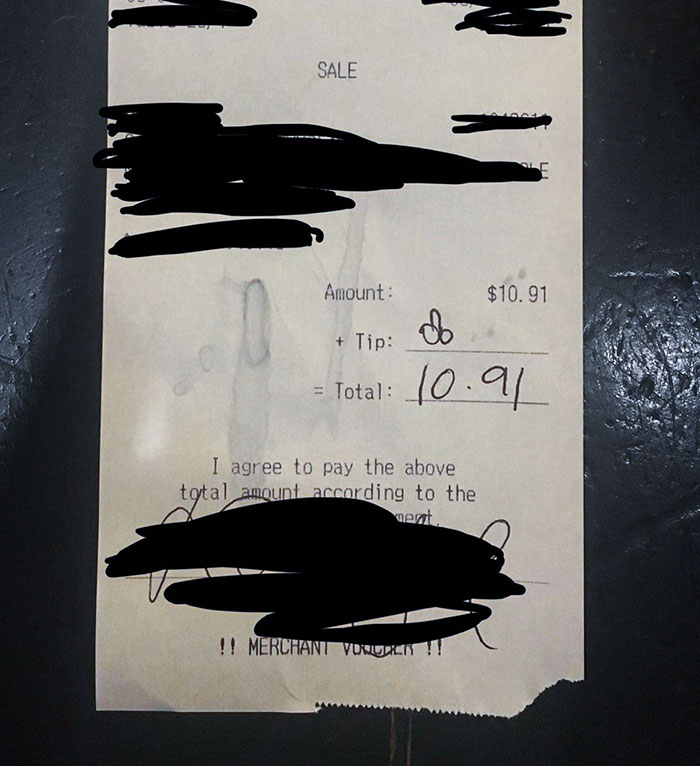 A Customer (21 Yr Old F) And Her Boyfriend Thought It Would Be Funny If They Left Me A Drawing Of A Dick Instead Of A Tip