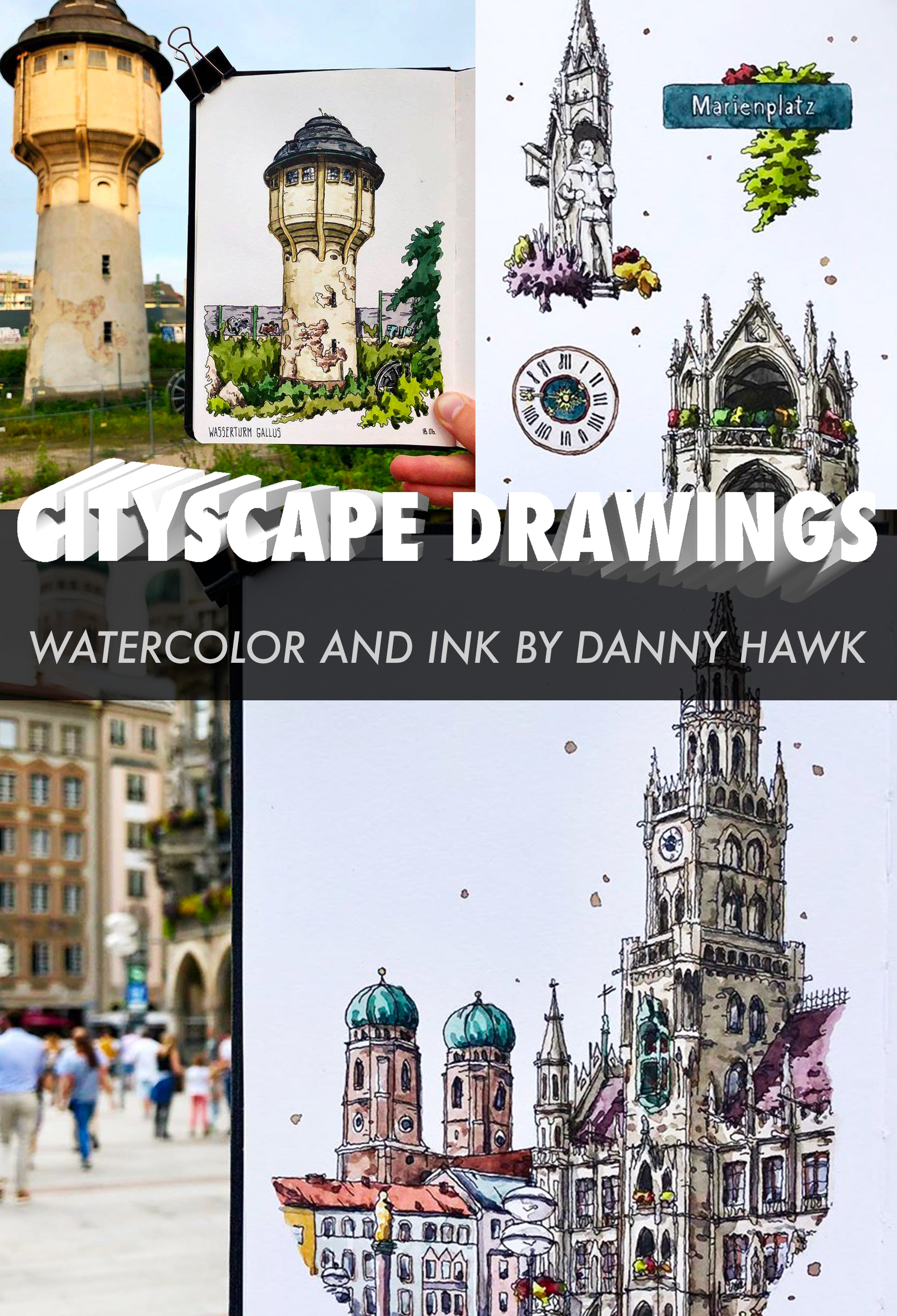 15 Image – Cityscape Drawings With Watercolor And Ink By Danny Hawk