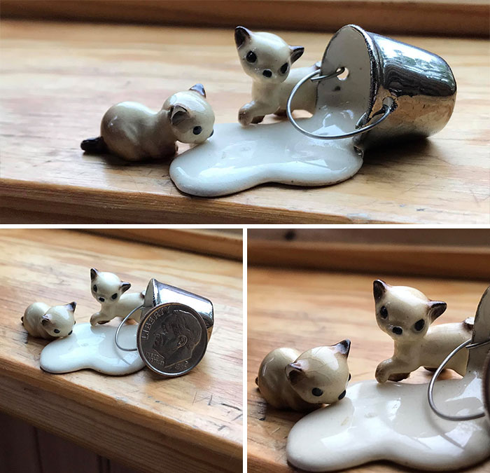 Went Through A Box I Inherited Of My Grandparents Knick-Knacks And Came Across This Beautiful Gem. Tiny Little Ceramic Kittys Drinking And Playing In Spilled Milk