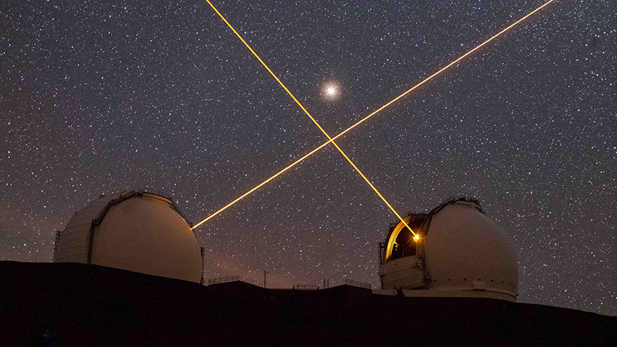 Skyscapes: 'Mars Above The Keck Lasers' By Sean Goebel