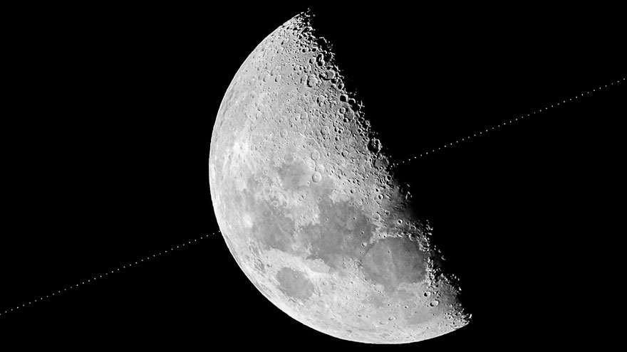 Our Moon: 'Hubble Space Telescope Transits Across The Moon Between Lunar X And Lunar V' By Michael Marston
