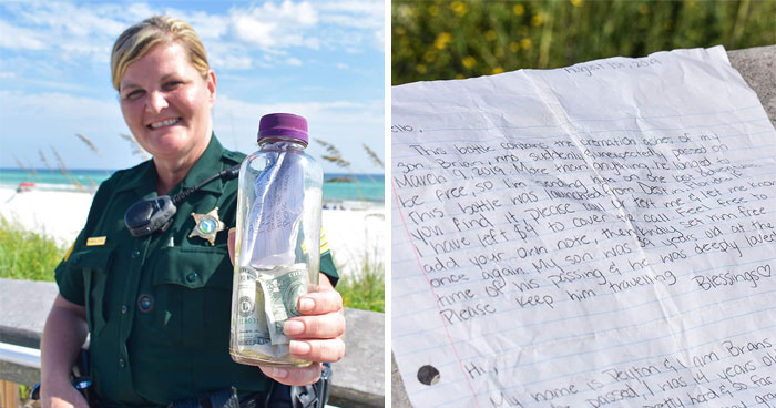 Family Puts Ashes Of Their Beloved Son And A Letter In A Bottle With $4 Bills And Throws It Into The Sea, This Woman Finds It