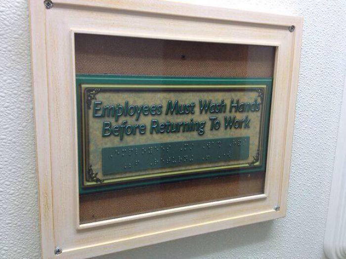 Braille Sign Under The Glass
