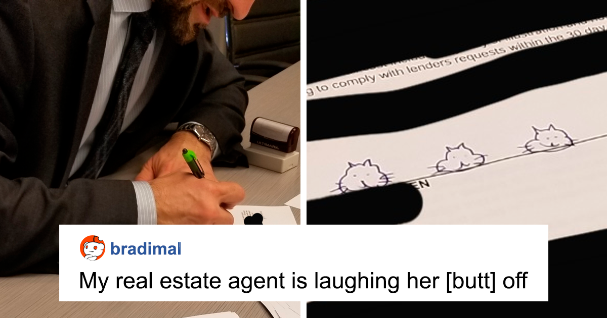 Guy Draws Cat Heads As A Joke Signature On His ID, Realizes