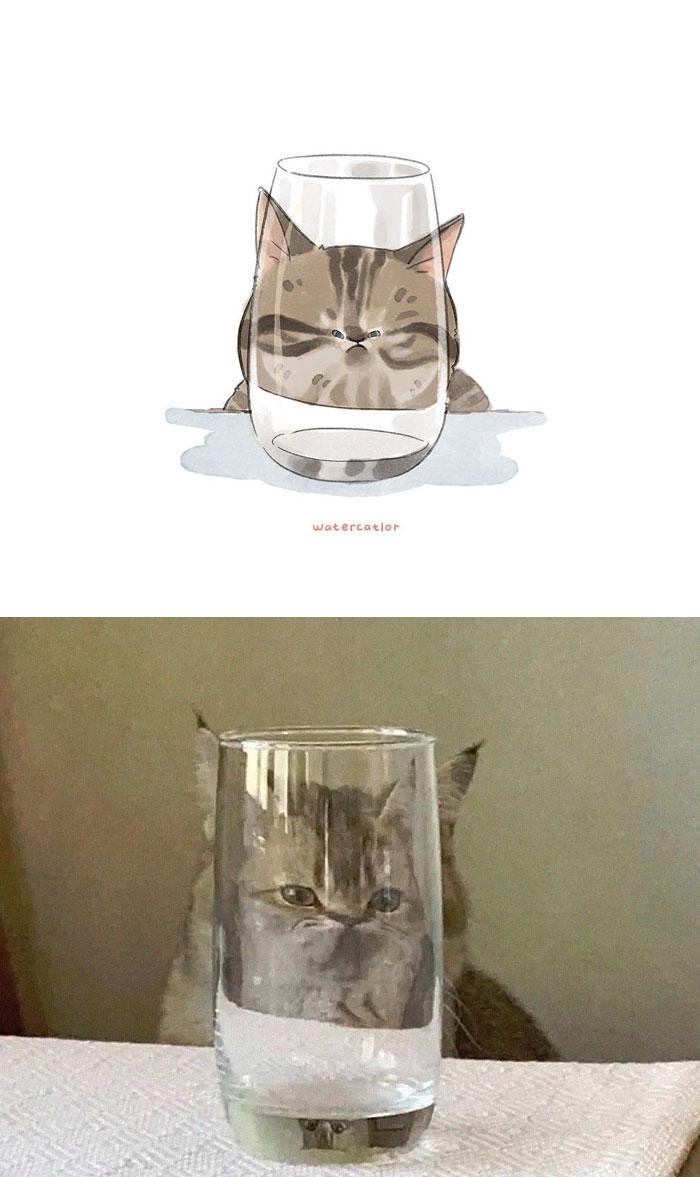 Digital-Watercolor-Cat-Paintings-Watercatlor