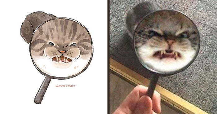 Artist Illustrates The Most Famous Funny Cat Pics In Her Watercatlor Series (75 Pics)