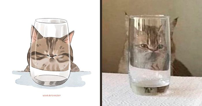 75 Of The Funniest Internet-Famous Cat Pics Get 'Watercolorized' By Amelia Rizky