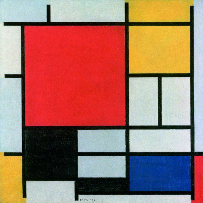 Excel Sheet With Coloured Squares, It's Mondrian