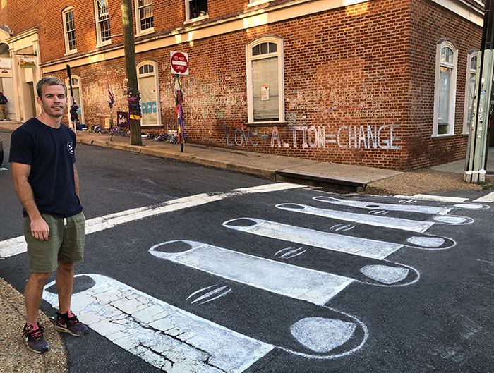 2 Years Ago, This Intersection In My Hometown Of Charlottesville Became Known For Hate. This Morning, I Drew The Crosswalk Into A Symbol Of Unity