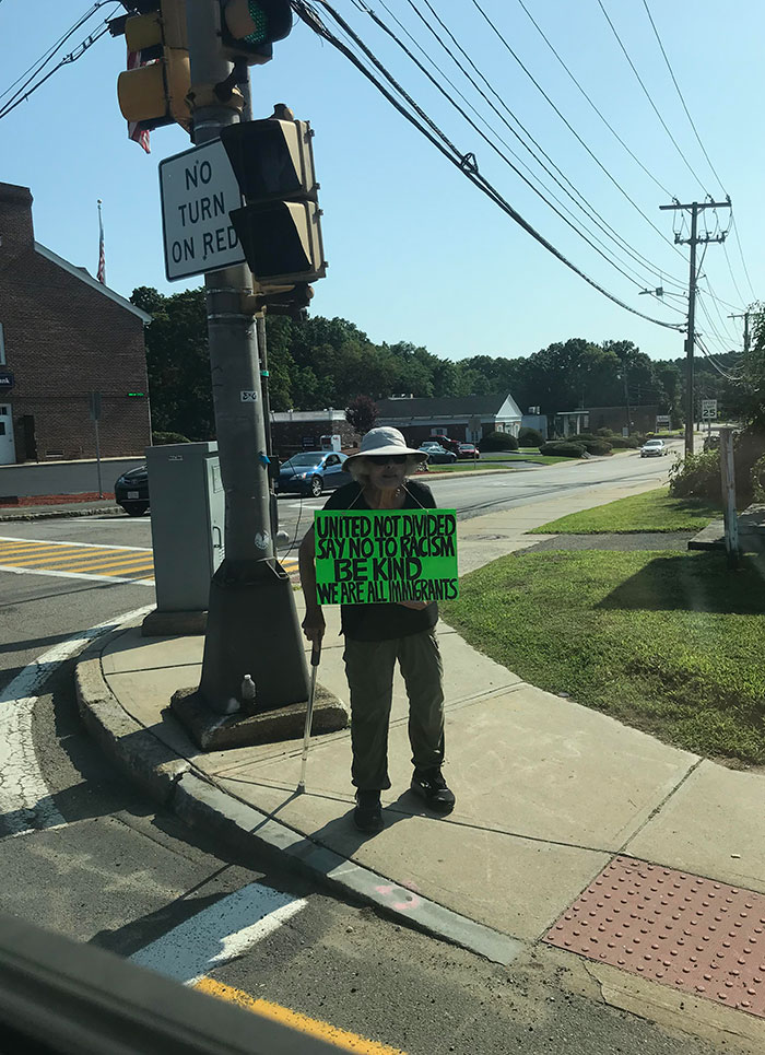 Nearly Every Day This Elderly Women Stands With This Sign Up, Facing The Traffic