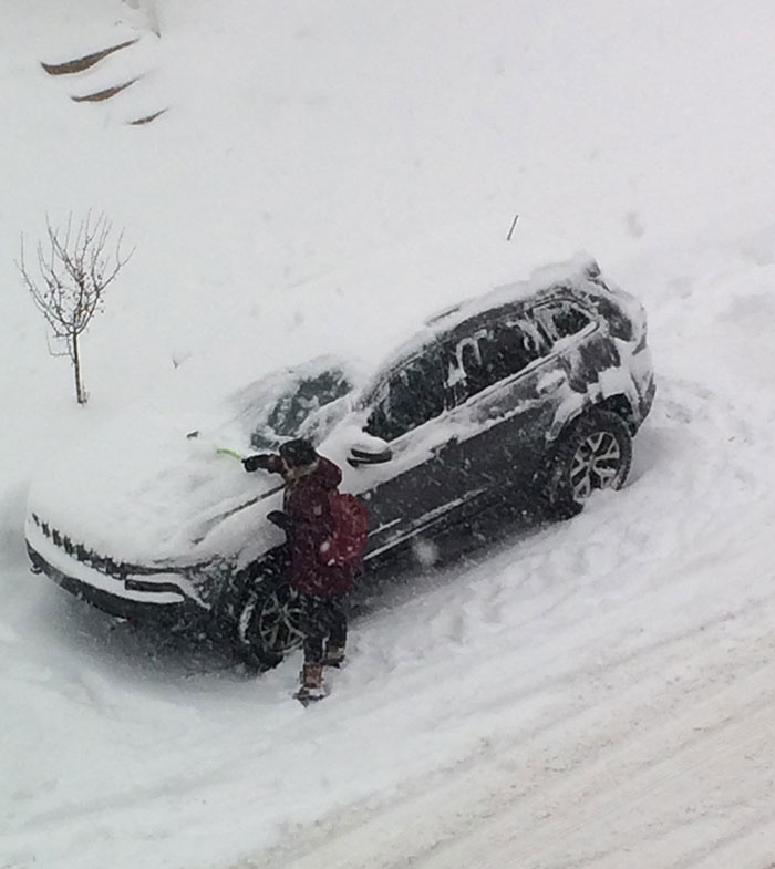 Here Is My Wife Thinking She Is Surprising Me, Scraping Snow Off My Car, After A 12-Hour Night Shift At The Hospital. I'm A Lucky Fella