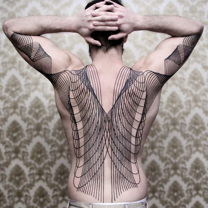 Full Back Line Art Tattoo