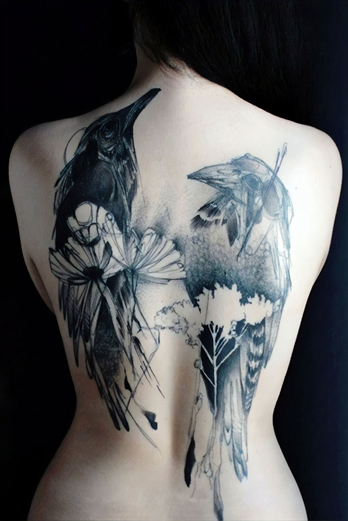 Artsy Back Tattoo With Crows