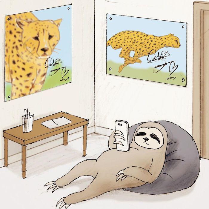 Смешной-Лень-иллюстрация-Keigo