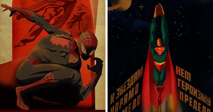 I Reimagine Comic Book Heroes As Soviet Style Posters (9 Pics)