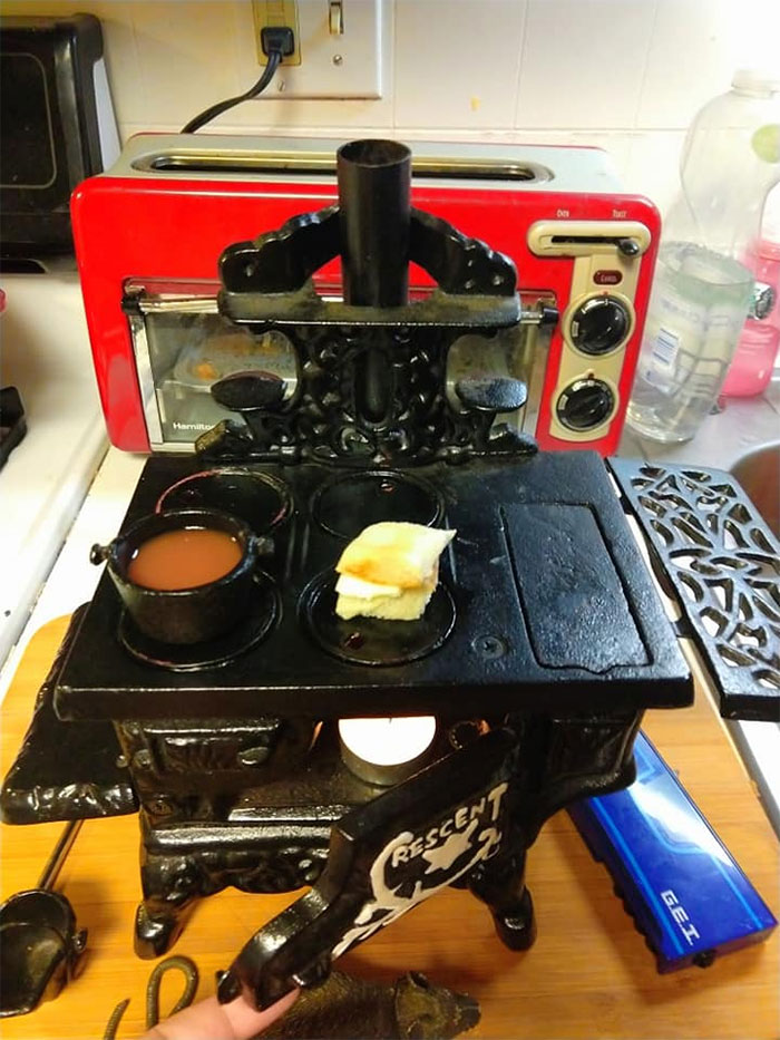 My 10 Year Old Son And I Found This Tiny Cast Iron Stove Last Week At An Antique Store And I Let Him Cook A Tiny Grilled Cheese Sandwich And Tomato Soup On It! It Worked!