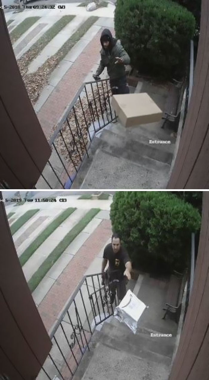 The Way Both FedEx And UPS Deliver My Packages (Caught By Security Cam)