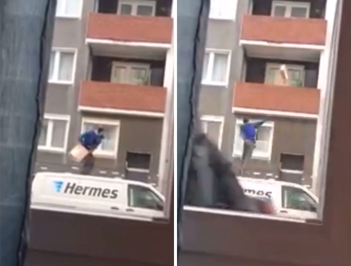 Delivery Guy Throws Package Up The Balcony