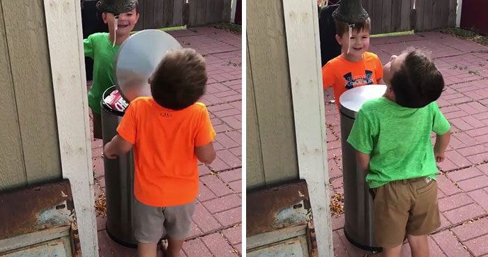 These 2 Boys Hitting Each Other With A Trash Can Lid Is Living Proof Why Women Live Longer Than Men