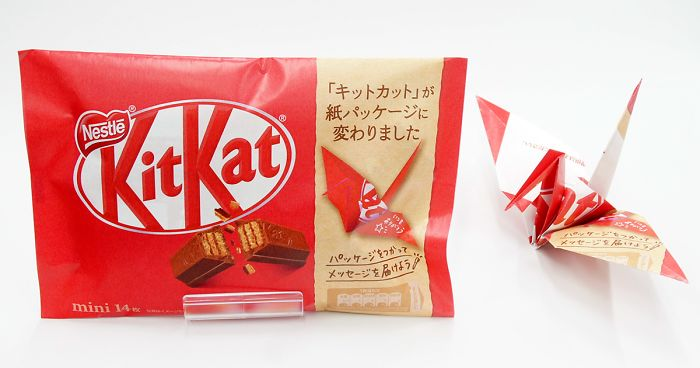 KitKat Japón cambia los envoltorios de plástico por otros de papel con los que hacer origami