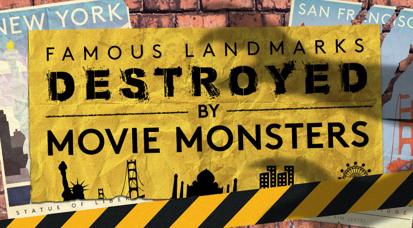 We Created Vintage-Style Travel Posters For Iconic Landmarks Destroyed By Movie Monsters