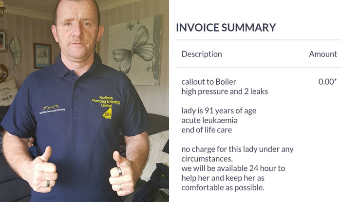 This Plumber's Invoice For Fixing 91-Year-Old Grandma's Boiler Goes Viral