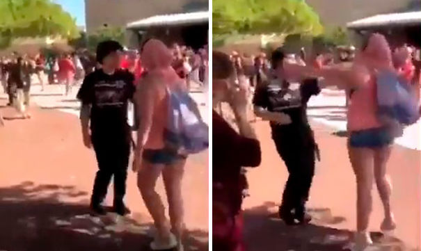 Girl and boy fight video