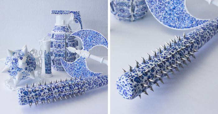 """Artist Creates Beautiful """"Porcelain"""" Weapons To Show Women's Inner Strength"""