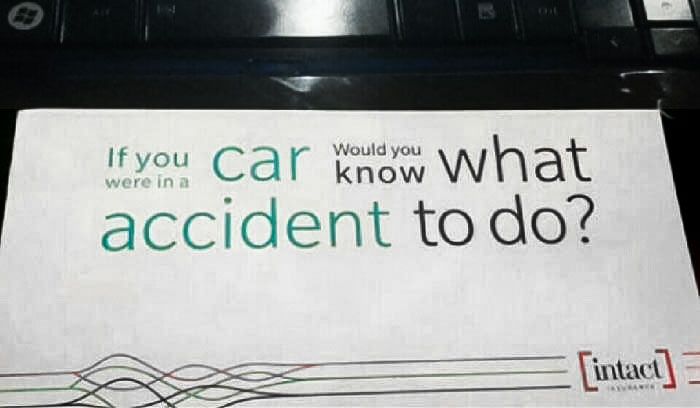 If You Were In A Car, Would You Know What Accident To Do?