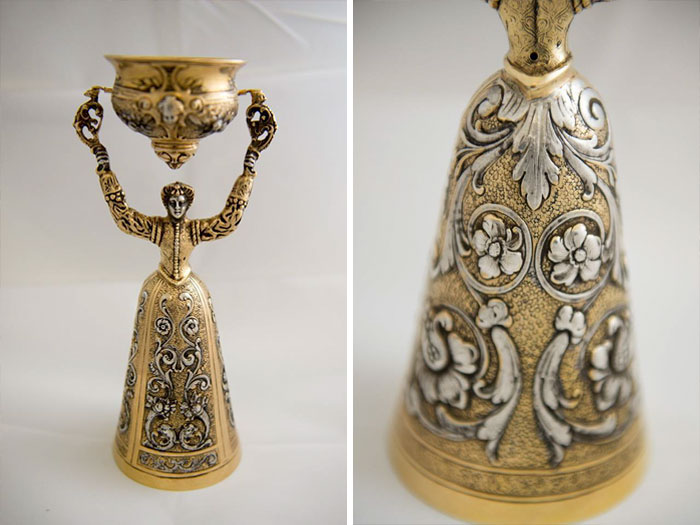 So This Is A Nifty Little Something I Got At A Thrift Store In South Carolina Several Years Ago For $4.25. It Is A Little Over 11 Inches Tall, Is Made Of Gold And Silver, And Weighs Approximately 1.25 Pounds