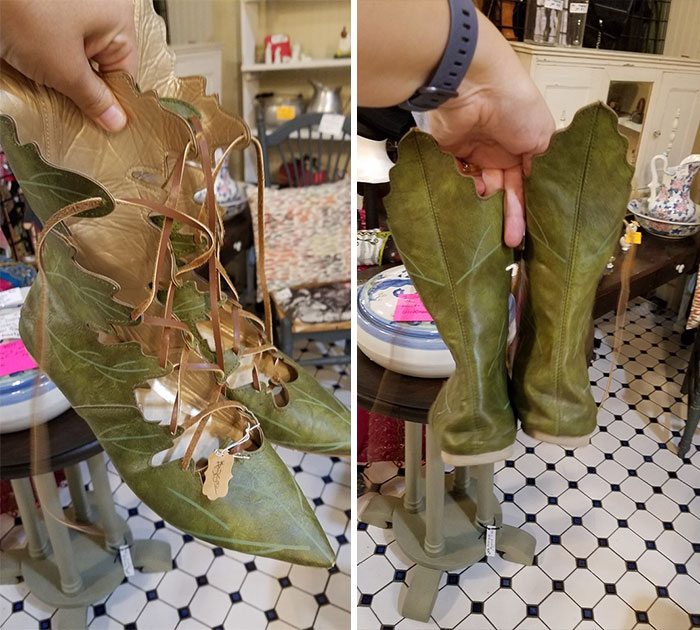 Found These Amazing Leather Leaf Shoes In Hannibal, Mo Today