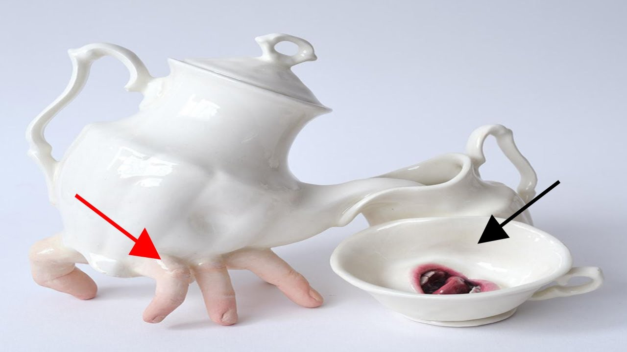 Artist Brings Tableware To Life By Adding Fingers And Mouths To Them